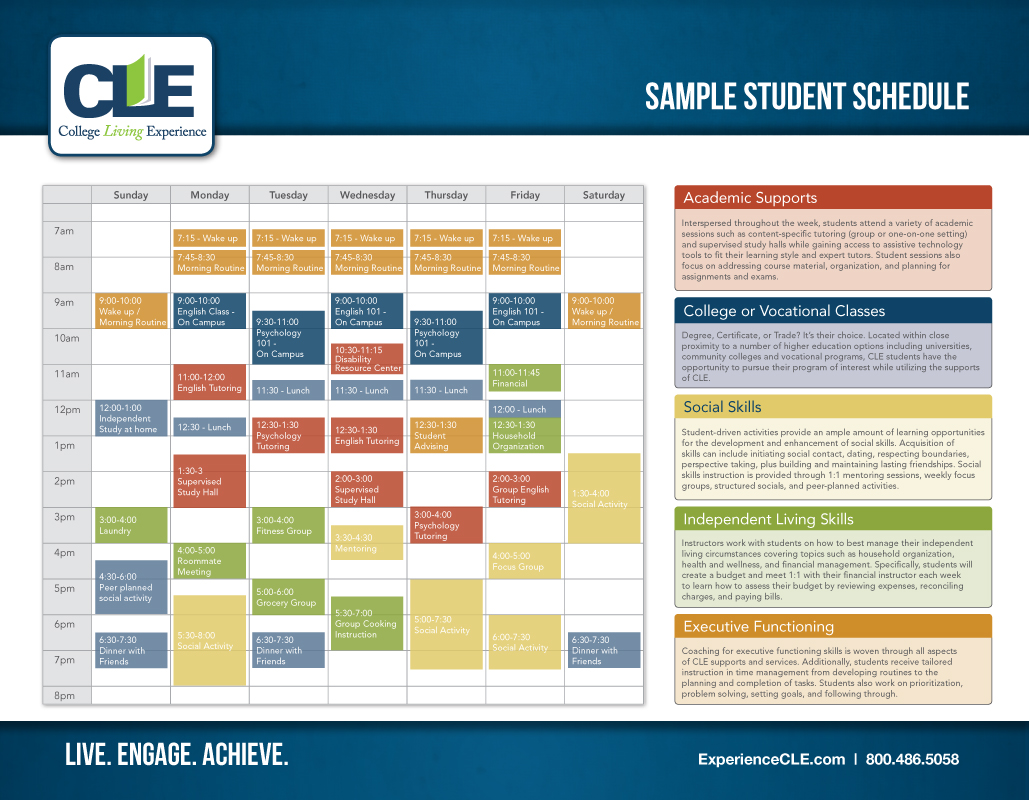 sample student schedule close